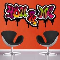 Stickers Graffiti You And Me Couleurs