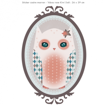 Stickers Hibou rose Kiwi Doll - Cadre marron