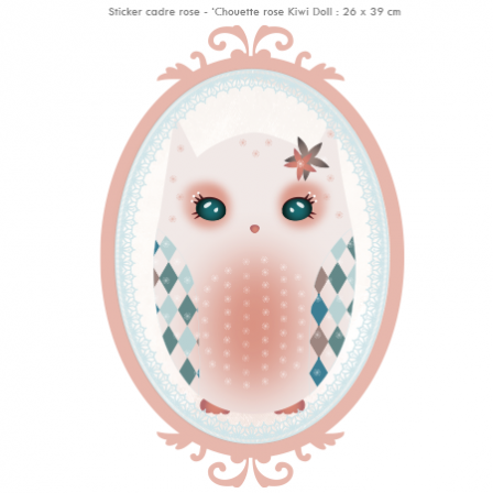Stickers Chouette rose Kiwi Doll - Cadre rose