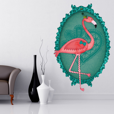 Stickers animal cadre flamant rose stickers malin - Stickers flamant rose ...