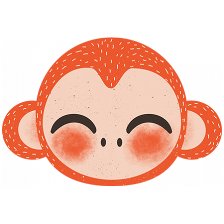 Stickers Animaux de la Jungle - le singe - orange