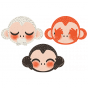Stickers Animaux de la Jungle - 3 petits singes