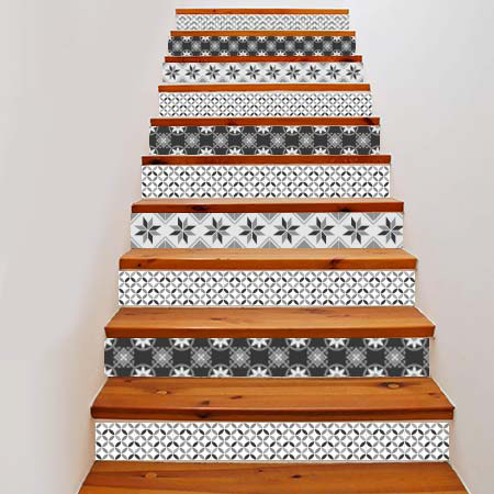 stickers escalier carreaux de ciment 3 ronds stickers malin. Black Bedroom Furniture Sets. Home Design Ideas