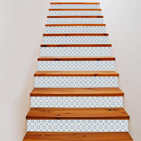 Stickers escalier carreaux mosa que bleue stickers malin - Stickers marche escalier ...