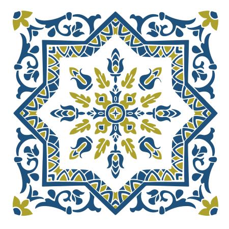 Stickers carreaux de ciment 4 bleu vert stickers malin - Carreaux de ciment bleu ...