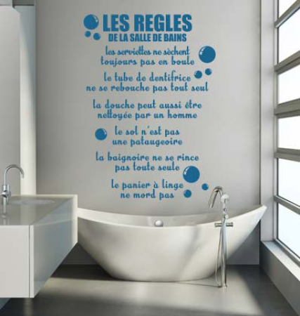 Stickers r gles de la salle de bains stickers malin - Stickers salle de bain ...