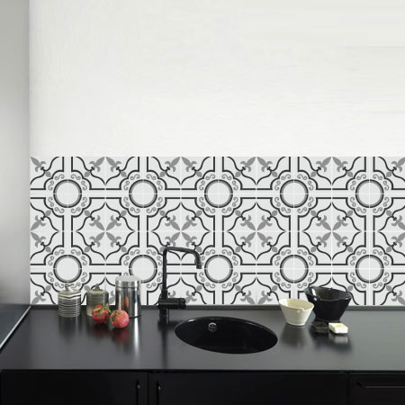 stickers carreaux de ciment 1 lys stickers malin. Black Bedroom Furniture Sets. Home Design Ideas
