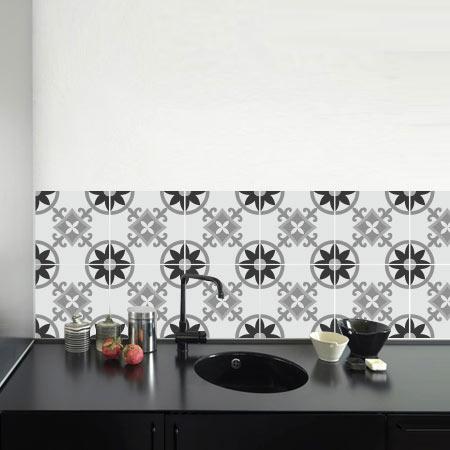 stickers carreaux de ciment 4 lys stickers malin. Black Bedroom Furniture Sets. Home Design Ideas