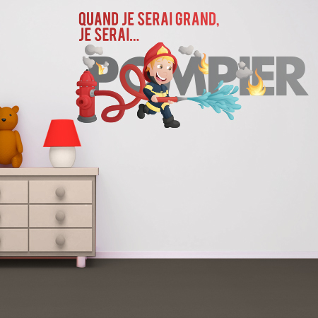 stickers je serai pompier couleur stickers malin. Black Bedroom Furniture Sets. Home Design Ideas