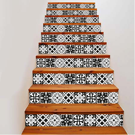 stickers escalier carreaux de ciment noir et blanc. Black Bedroom Furniture Sets. Home Design Ideas