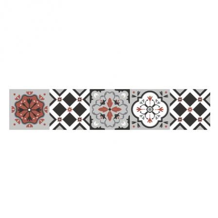 stickers escalier carreaux de ciment ocre rouge et gris stickers malin. Black Bedroom Furniture Sets. Home Design Ideas