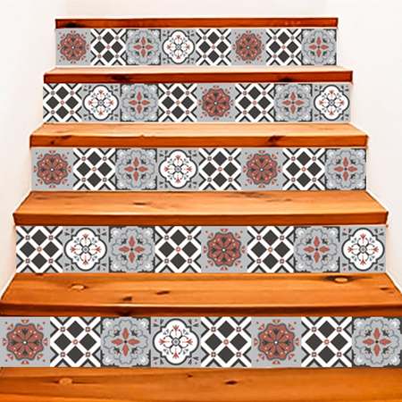 stickers escalier carreaux de ciment ocre rouge et gris stickers malin. Black Bedroom Furniture Sets. Home Design Ideas
