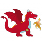 Stickers Chevalier dragon rouge 2