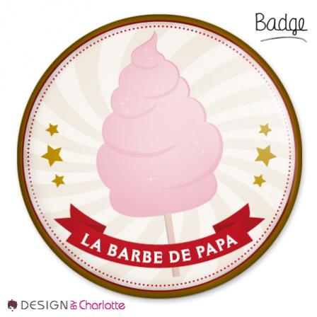 Badge bonbon barbe papa stickers malin - Barbe a papa personnage ...