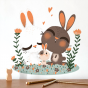 Stickers Famille Lapin