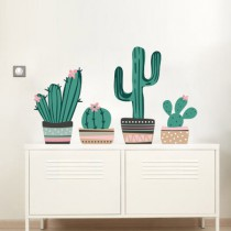Stickers Ensemble de Cactus - Marron, beige