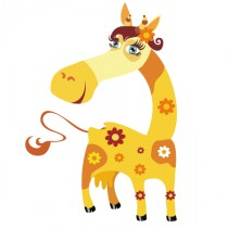 Stickers girafe florale