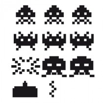 Stickers jeu space invaders