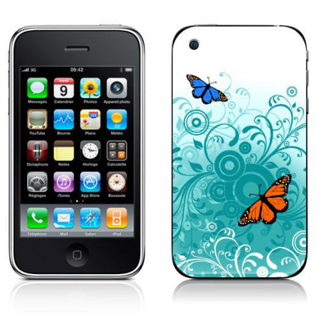 Stickers iPhone papillon turquoise