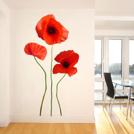 stickers muraux fleur coquelicot 3 stickers malin. Black Bedroom Furniture Sets. Home Design Ideas
