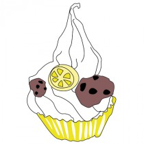 Stickers Cupcake cookie citron