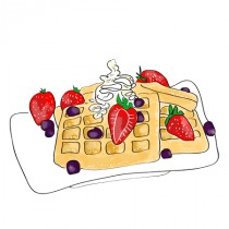 Stickers Gaufre fraise et chantilly