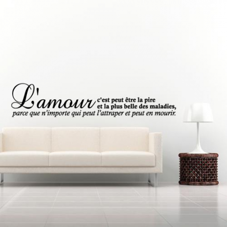 stickers citation l 39 amour la pire des maladies stickers malin. Black Bedroom Furniture Sets. Home Design Ideas