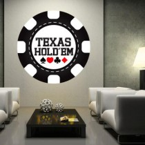 Stickers jeton casino texas hold'em noir