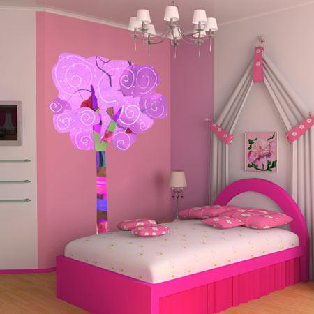 stickers enfant nature arbre magique rose stickers malin. Black Bedroom Furniture Sets. Home Design Ideas