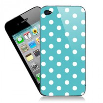 Stickers iPhone fashion points fond bleu turquoise