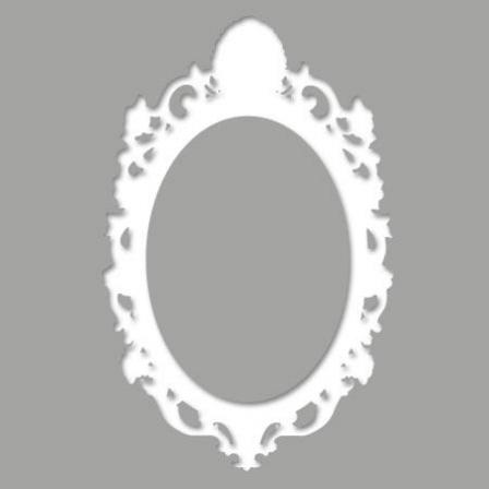 Pochoir adh sif cadre baroque arrondi 2 stickers malin for Pochoir pour miroir